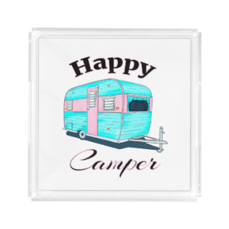 Happy Camper Trailer Camping Acrylic Tray
