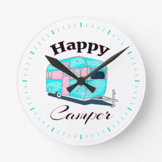 Happy Camper Trailer Camping Round Clock