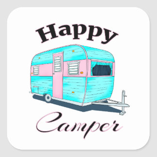 Happy Camper Trailer Camping Square Sticker