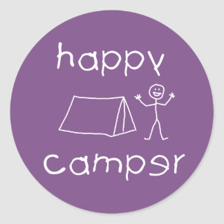 Happy Camper (wht) Classic Round Sticker