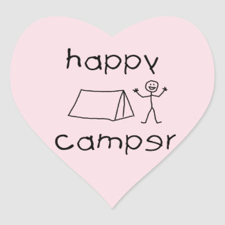 Happy Camper (wht) Heart Sticker