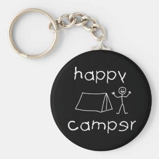 Happy Camper (wht) Key Ring