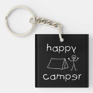 Happy Camper (wht) Key Ring