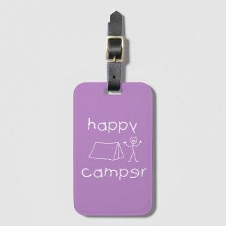 Happy Camper (wht) Luggage Tag