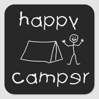 Happy Camper (wht) Square Sticker