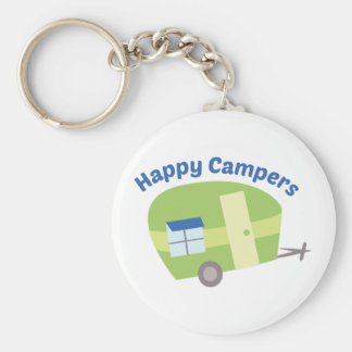 Happy Campers Basic Round Button Key Ring