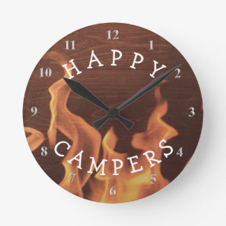 Happy Campers Campfire | Camping Fun Wallclocks