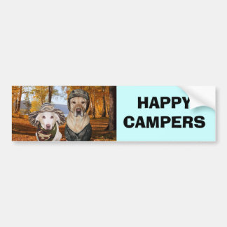 HAPPY CAMPERS Dog/Lab Bumper Sticker