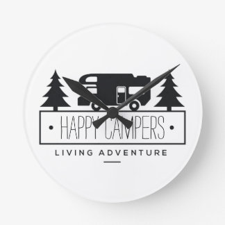 Happy Campers | Funny Camping RV Retired RVer Round Clock