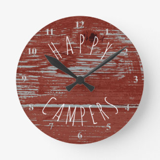 Happy Campers Red Barn Wood | Rustic Camping Round Clock