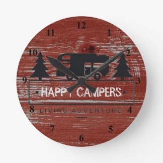 Happy Campers | Red Rustic Barn Wood RV Camping Wall Clock