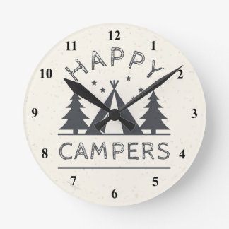 Happy Campers | Rustic Camping Tent Trees Wall Clock