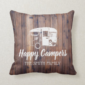 Happy Campers Rustic Camping Trailer Family Name Cushion
