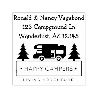 Happy Campers | Rustic Retired Camping Self-inking Stamp