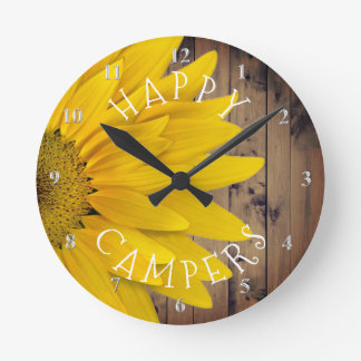 Happy Campers Rustic Sunflower Camping Retirement Round Clock