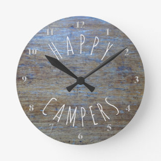 Happy Campers Rustic Wood | Camping Retirement Fun Round Clock