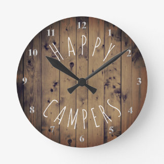Happy Campers Rustic Wood   Retirement RV Camping Wall Clocks
