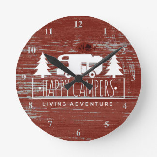 Happy Campers RV Camping   Red Rustic Barn Wood Wall Clocks