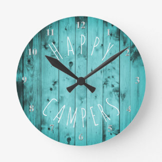 Happy Campers Turquoise Wood Retirement RV Camping Clock