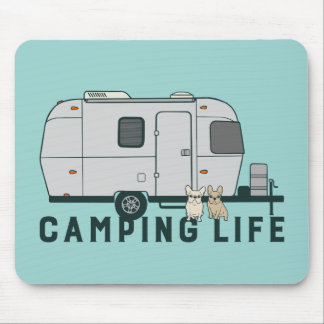 Happy camping life with cute Frenchies Mouse Pad