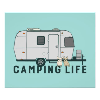Happy camping life with cute Frenchies Photo Print