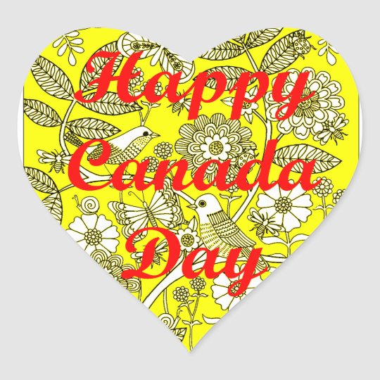 Happy Canada Day 2 Heart Sticker