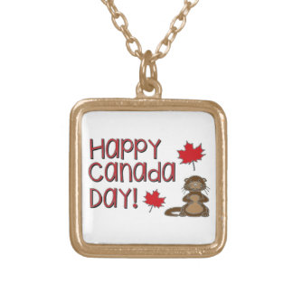 Happy Canada Day 3 Gold Plated Necklace