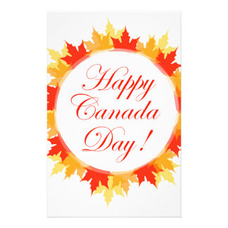 Happy Canada Day card with maple leaves Personalized Stationery