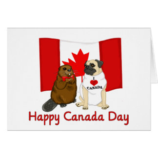 Happy Canada Day Pug and Beaver Pal Tees, Gifts Card