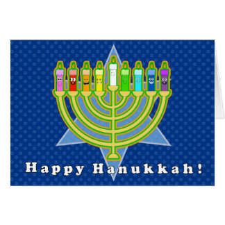 Happy candles Hanukkah card with envelope