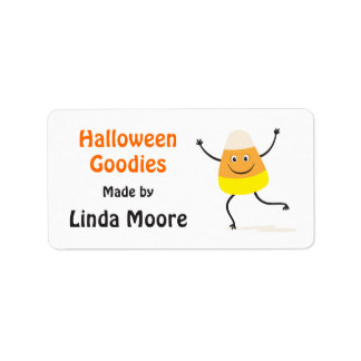 Happy candy corn character Halloween kitchen label