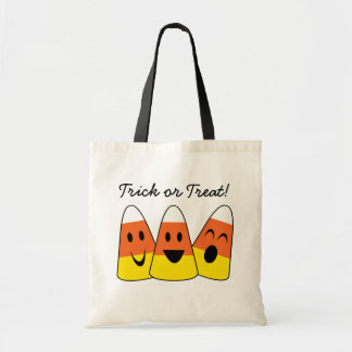 Happy candy corn orange trick or treat Halloween Budget Tote Bag