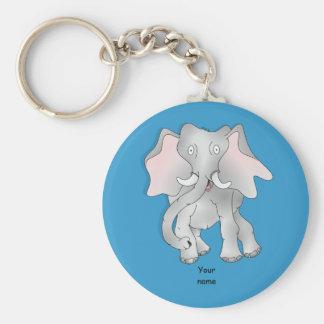 Happy cartoon African elephant Basic Round Button Key Ring