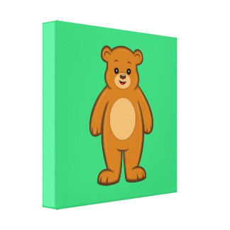 Happy Cartoon Bear Canvas Print