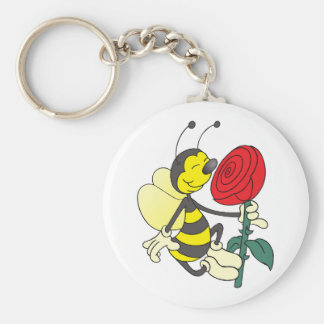 Happy Cartoon Bee Holding and Smelling a Red Rose Key Ring