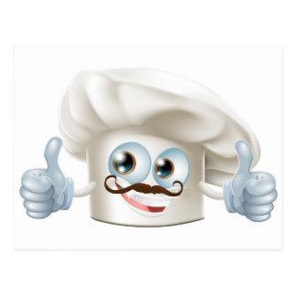 Happy cartoon chef character postcard