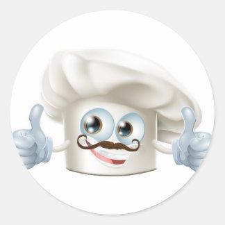 Happy cartoon chef character stickers
