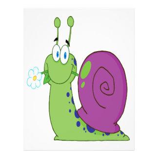 happy cartoon colorful snail with flower 21.5 cm x 28 cm flyer