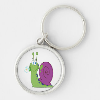 happy cartoon colorful snail with flower Silver-Colored round key ring