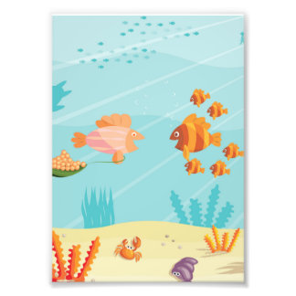 Happy Cartoon Fish Families Photo Print