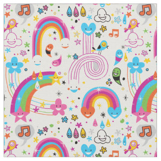 Happy Cartoon Rainbows and Shapes Seamless Pattern Fabric