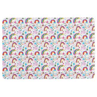 Happy Cartoon Rainbows and Shapes Seamless Pattern Floor Mat