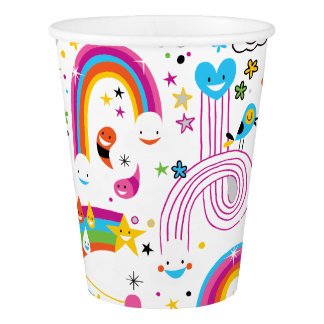 Happy Cartoon Rainbows and Shapes Seamless Pattern Paper Cup