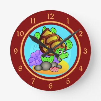 Happy Cartoon Sea Turtle with Bright Red and Gold Wall Clocks