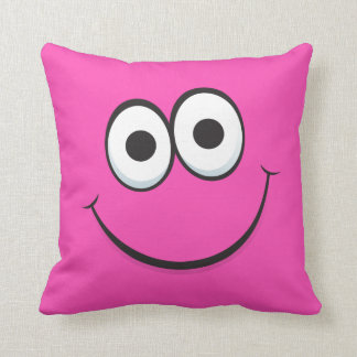 Happy cartoon smiley face funny hot pink pillow