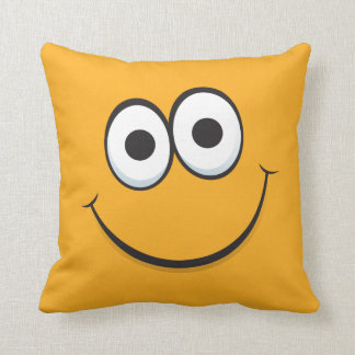 Happy cartoon smiley face funny orange pillow