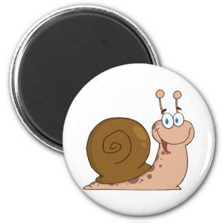 Happy Cartoon Snail 6 Cm Round Magnet
