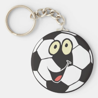 happy cartoon soccer ball basic round button key ring