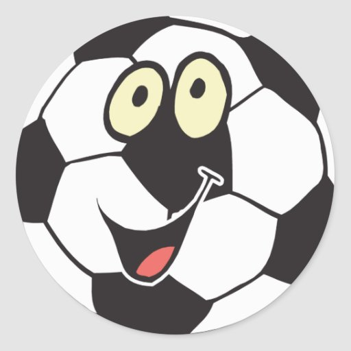 happy cartoon soccer ball stickers