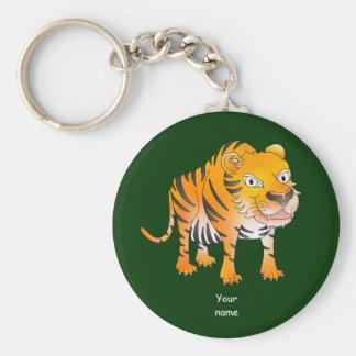 Happy cartoon tiger key ring